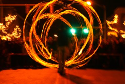 Photo of Pyrotation Nation's fire spinning performance