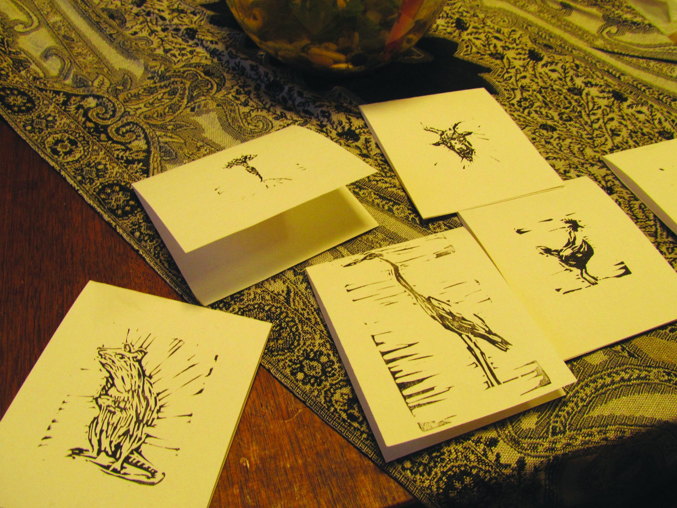Some of Emma Gerig's handmade greeting cards