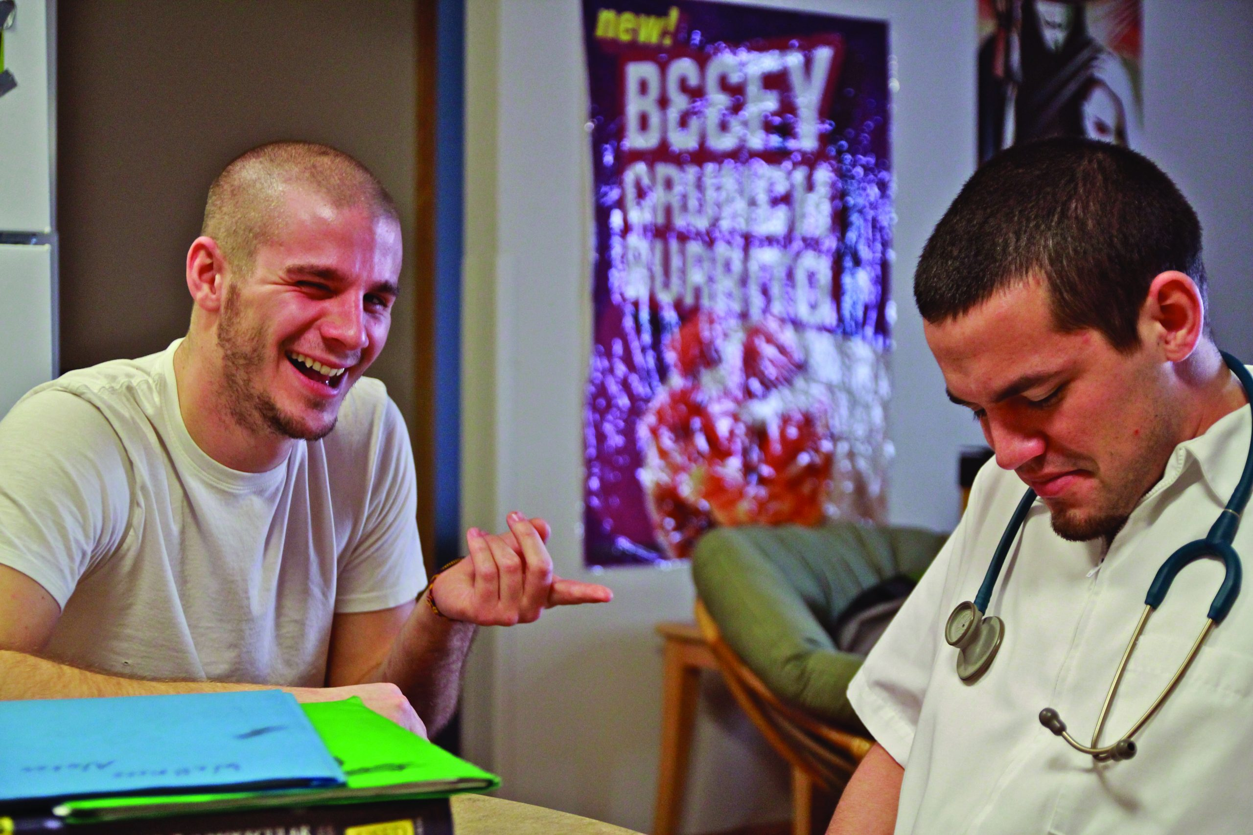 Student laughs at a nursing student