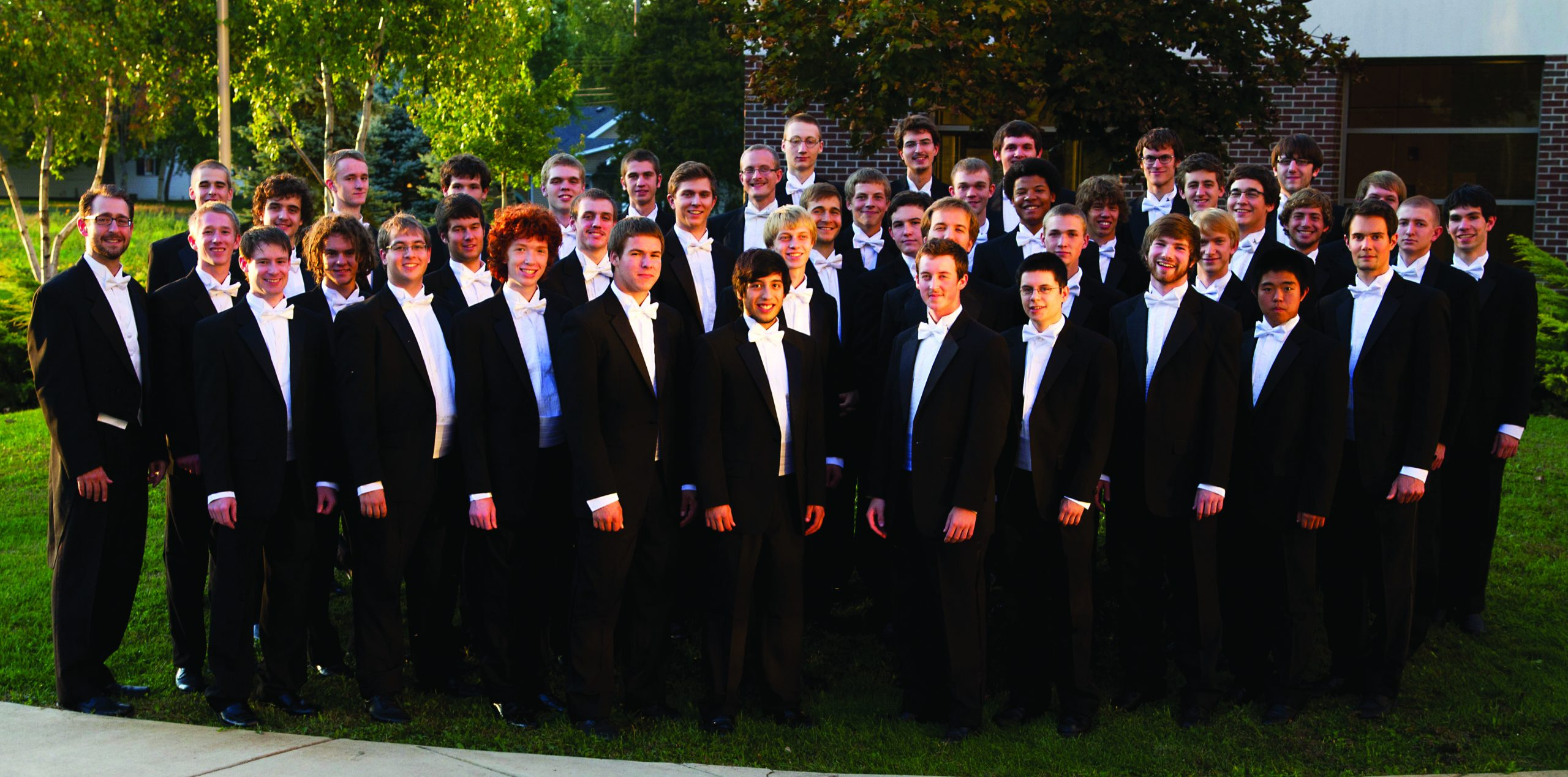 The Goshen Men's Choir poses for a picture