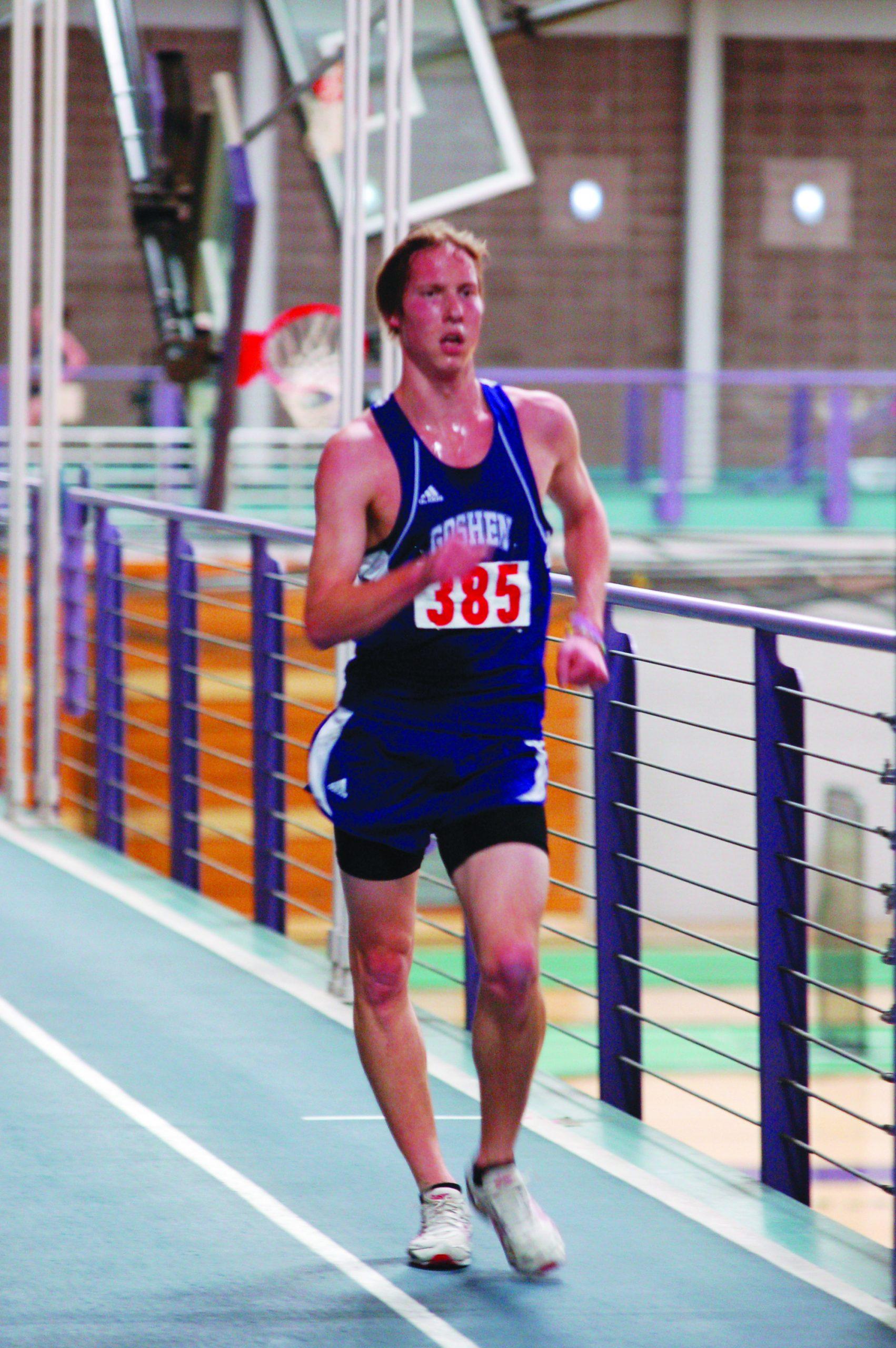 race walker on Goshen indoor track