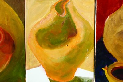 Three of Professor Ann Hostetler's abstract oil paintings