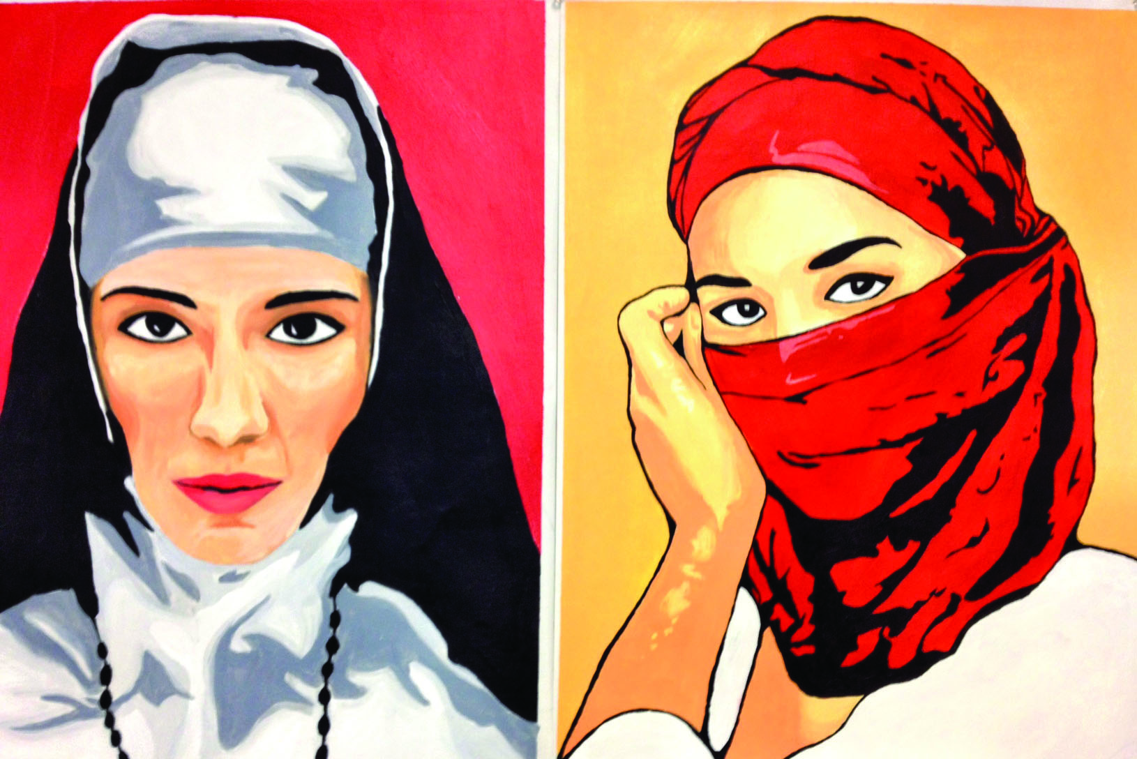Two of Summer Hasan's paintings featuring women wearing head coverings