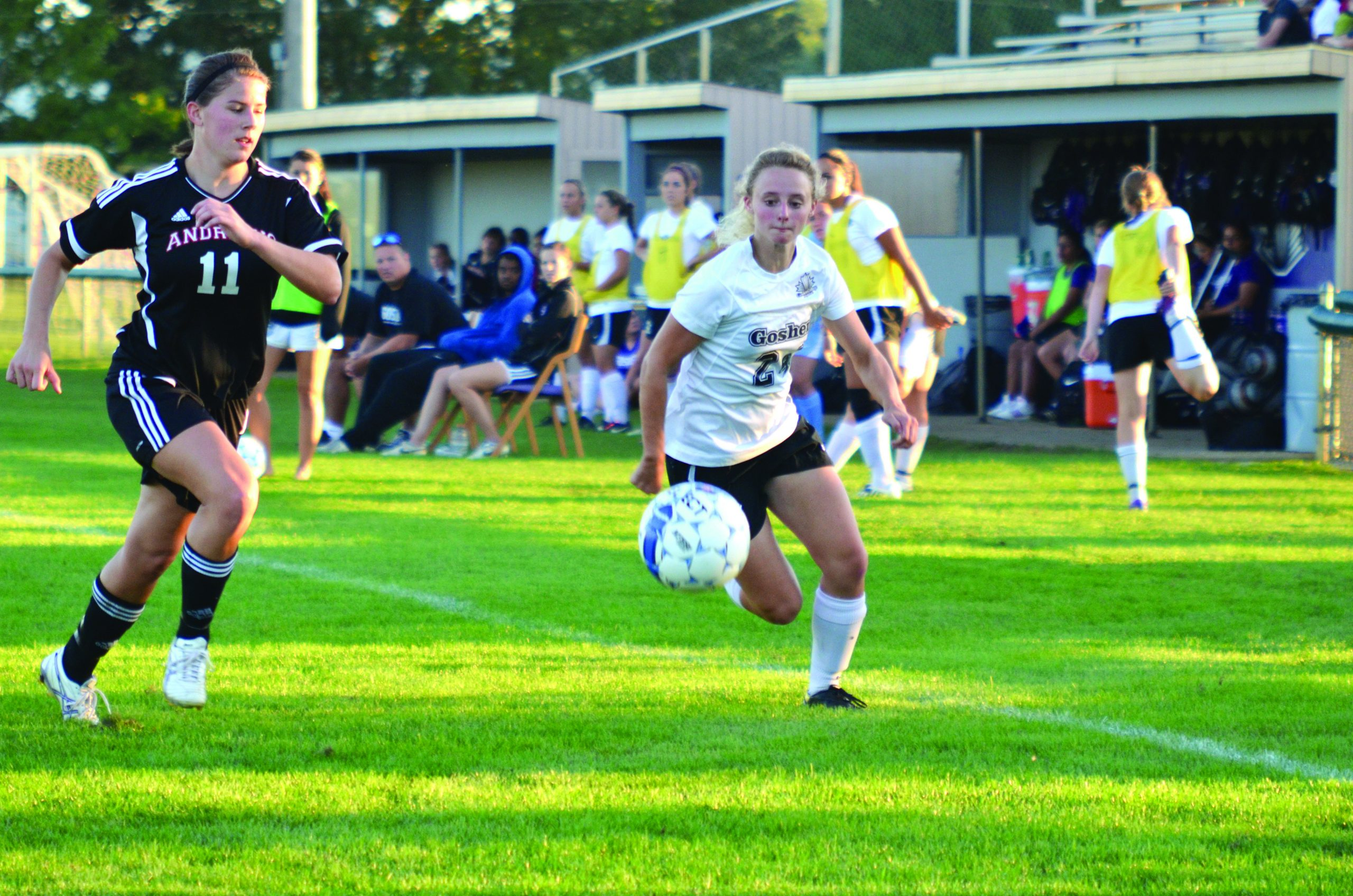 women's soccer player in action