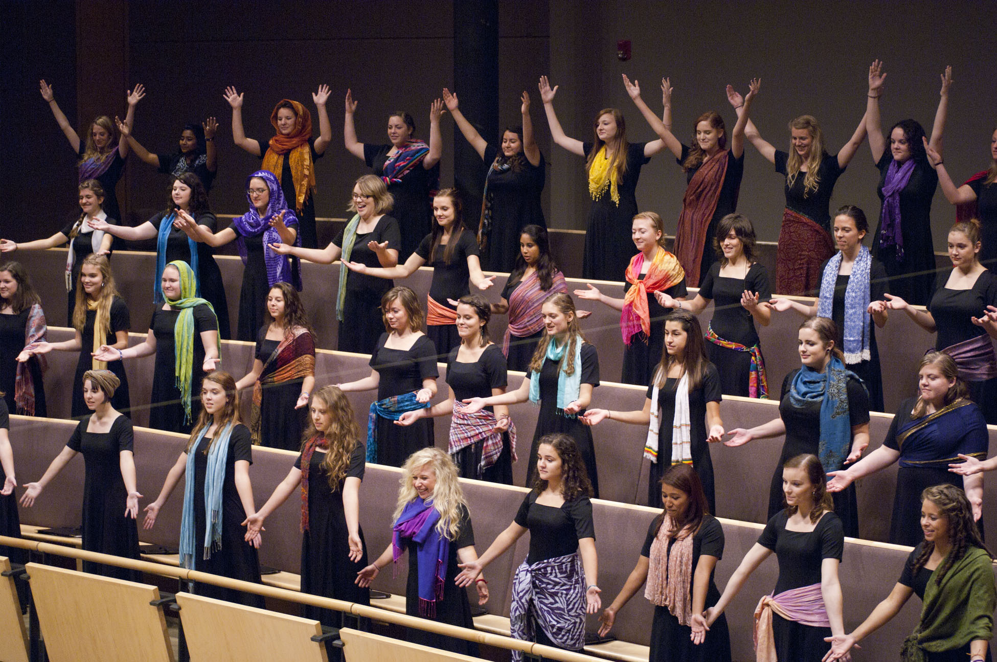 Voices of the Earth sings in the choral balcony of Sauder Concert Hall