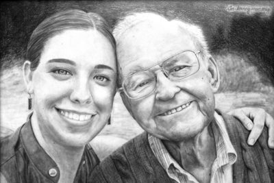 Shelby Burge's drawing of her and her grandfather