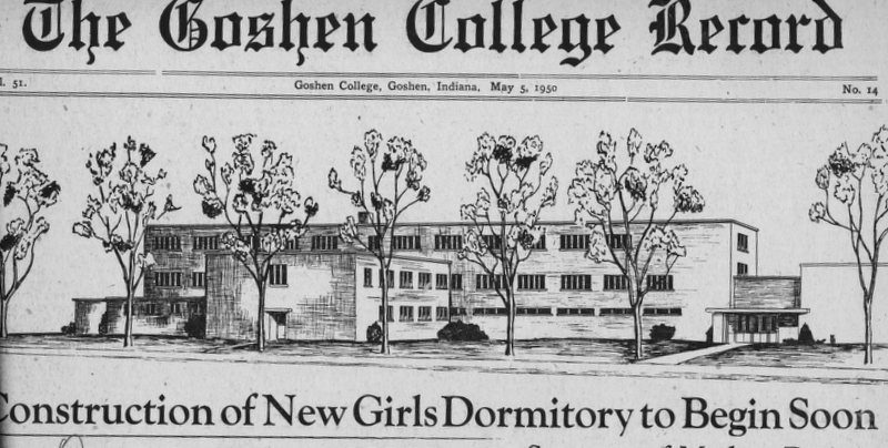 """Newspaper clipping from a 1950 copy of the Record; the headline reads, """"Construction of New Girls Dormitory to Begin Soon"""""""