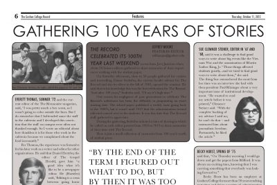 """Spread of photos and quotations with a headline reading """"Gathering 100 Years of Stories"""""""