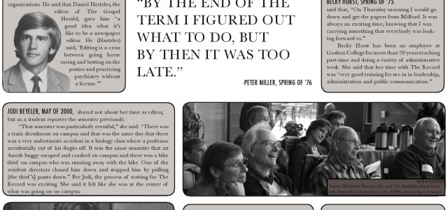 Special issue spread: Record editors remember 100 years of student press