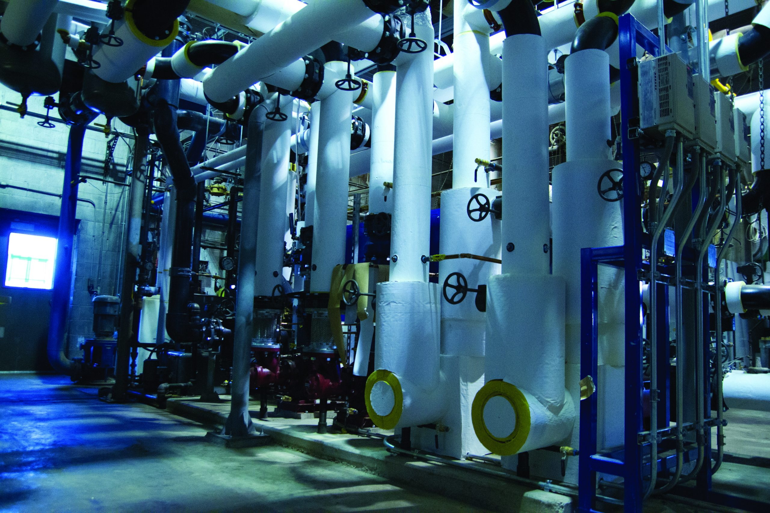 The complex system of pipes that makes up Goshen College's new geothermal unit