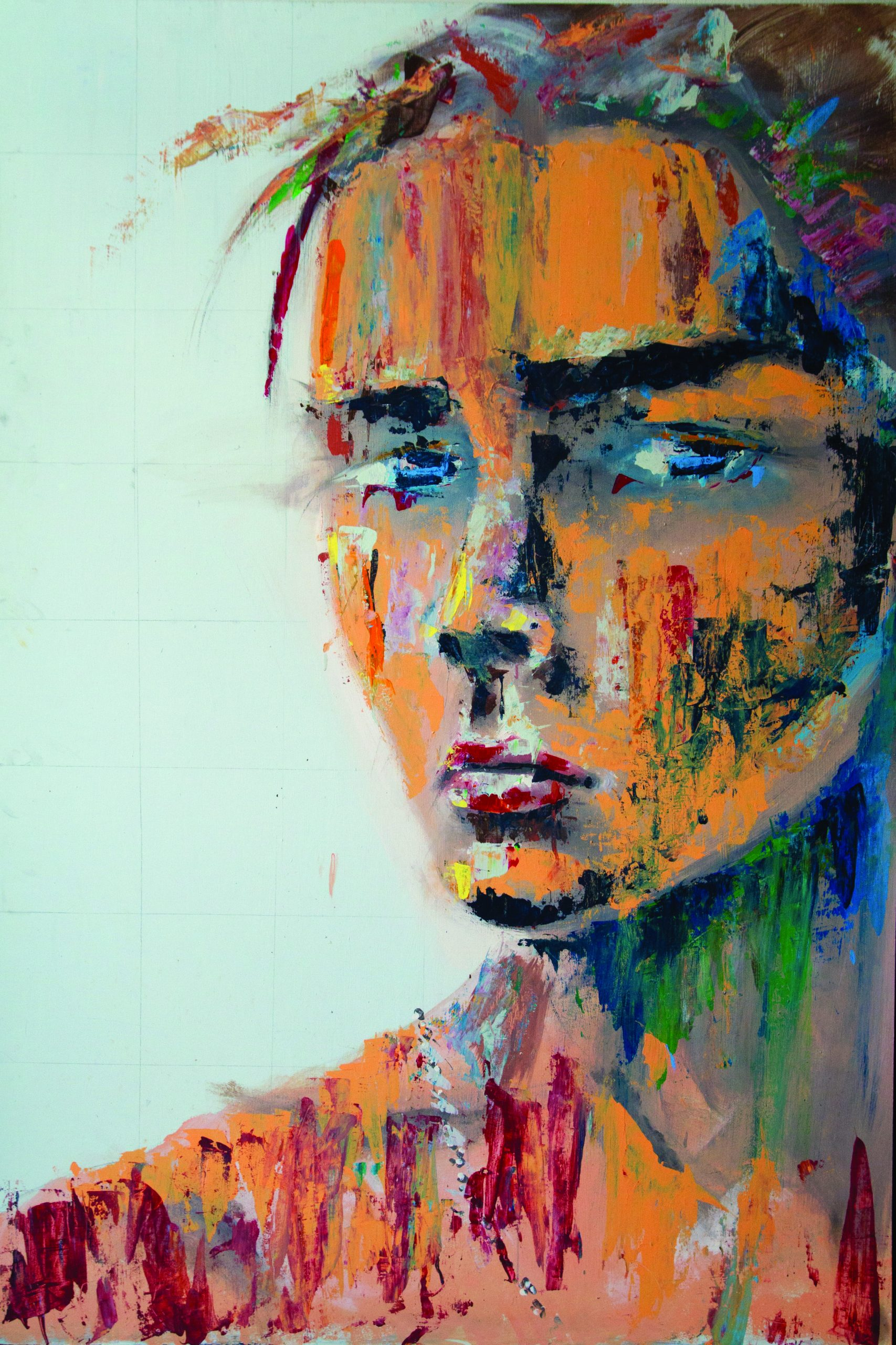 """Mohammad Rasoulipour combines masculine and feminine features in his painting of a man entitled """"Androgynous Male"""""""