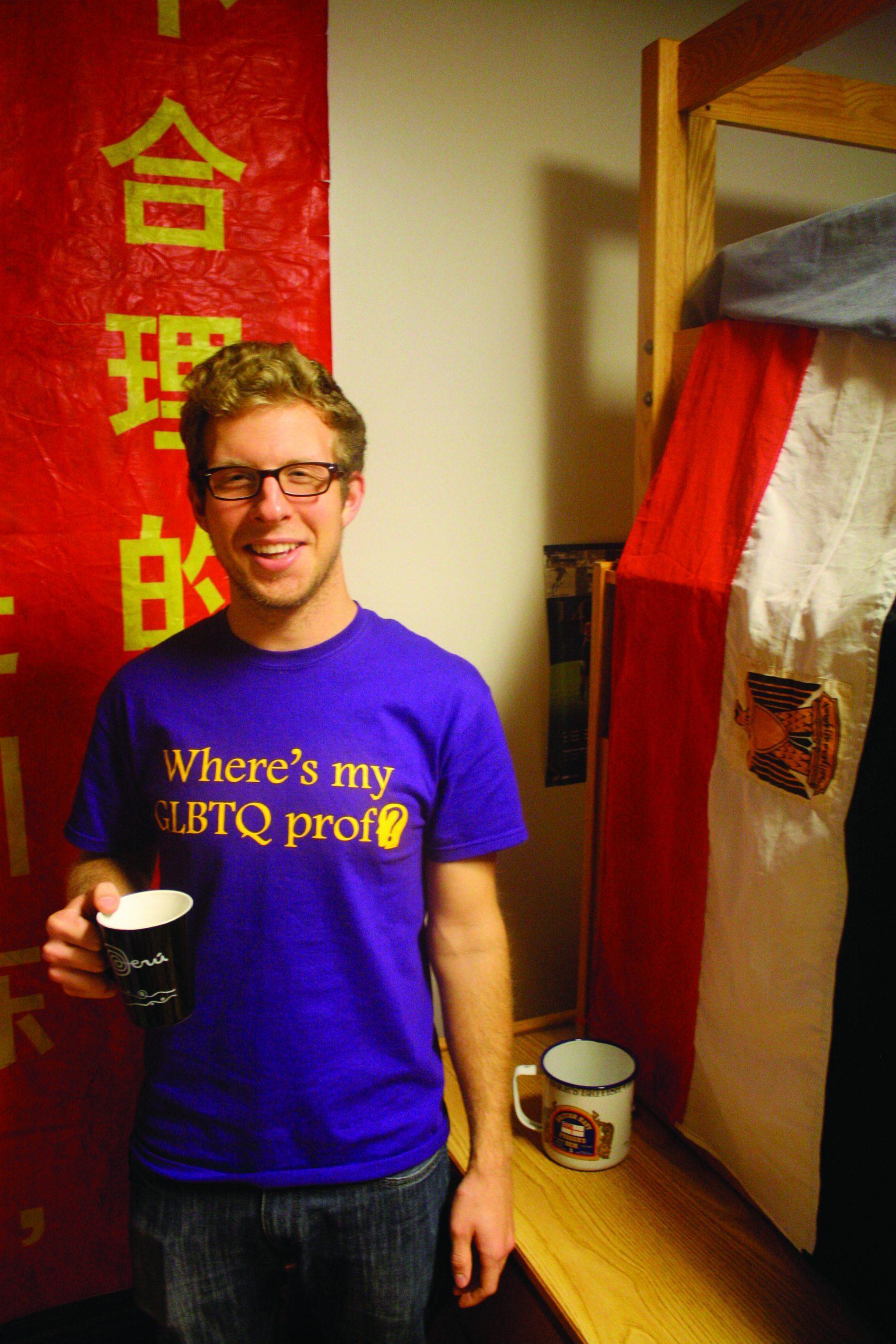 Hans Weaver in dorm room