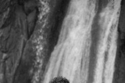 Micah by a waterfall
