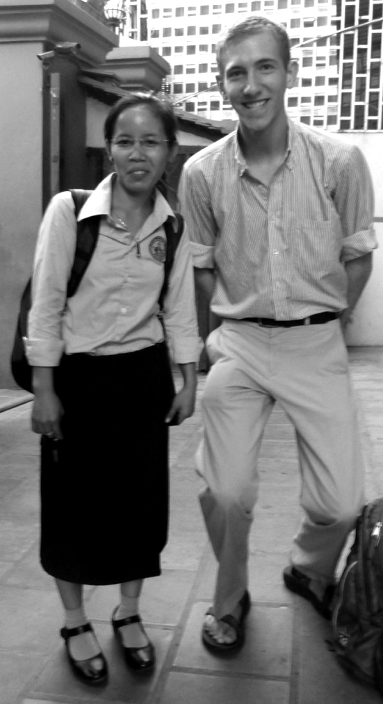 Black and white image of Seth Miller and a friend in Cambodia
