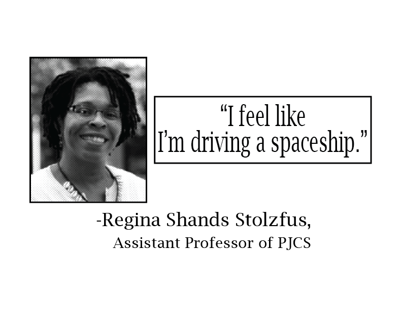 """Headshot of Professor Regina Shands Stoltzfus and a quote reading """"I feel like I'm driving a spaceship."""""""