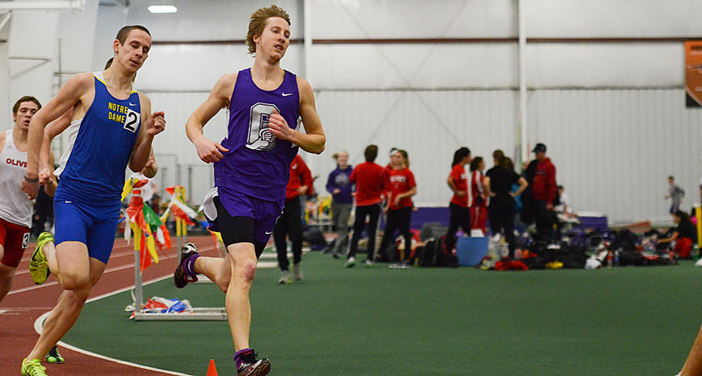 A runner on the Goshen men's track and field team competes in a race