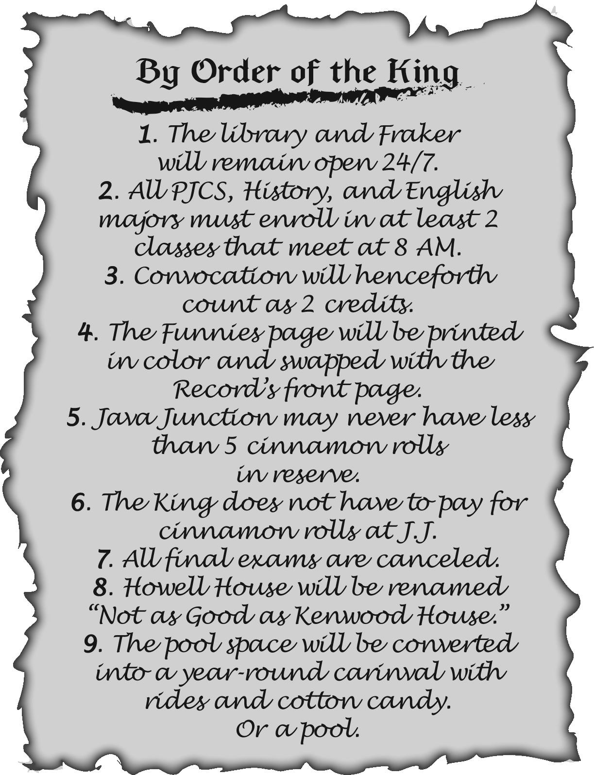 "List of orders in John Miller's ""By Order of the King"" decree"