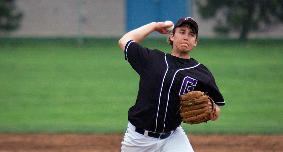 Spencer Oversen prepares to pitch during a baseball game