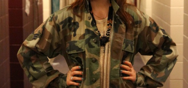 Sporting an Army jacket with a twist