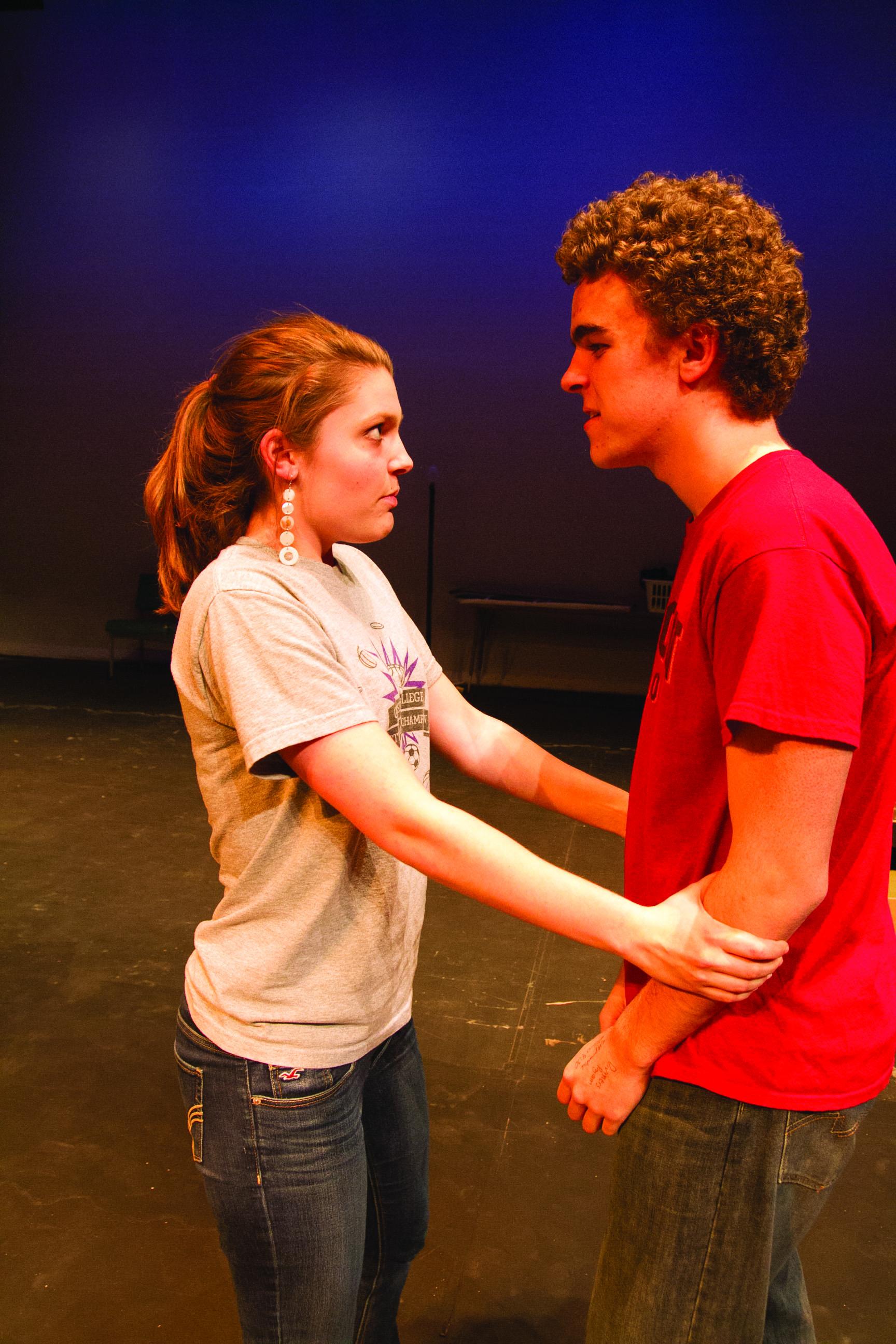 Vanessa Hofer and Alex Long perform a scene for a theatre senior recital