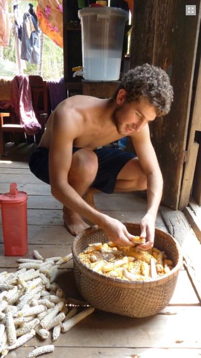 Henry Stewart shucks corn in Cambodia