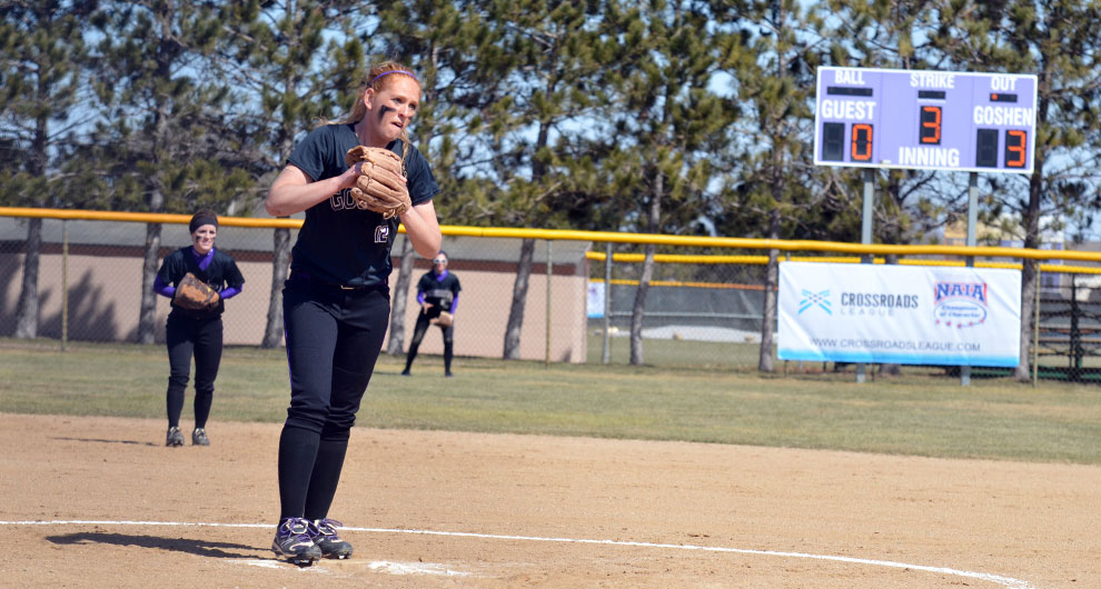 Ame Blankenship prepares to pitch in a softball game