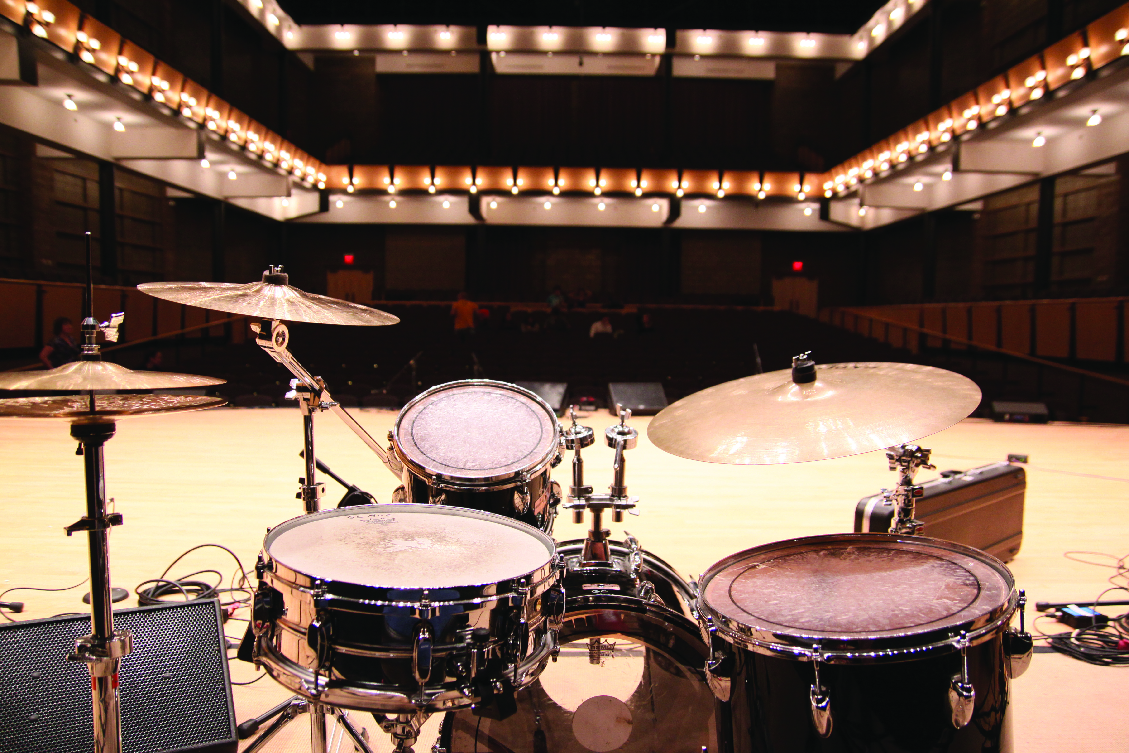 Photo of a drumset on the Sauder Concert Hall stage
