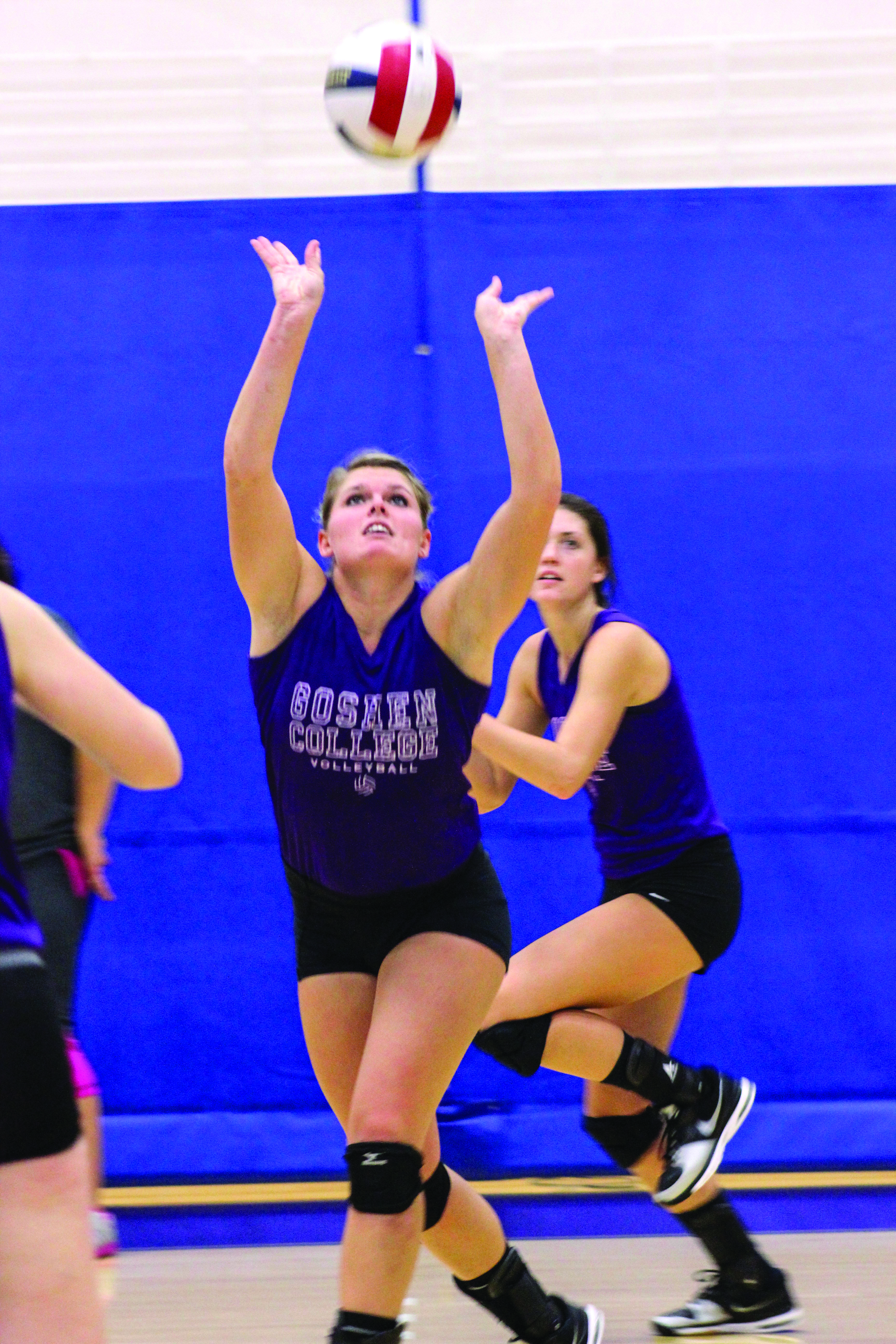 Stacy Wyse hits the volleyball during a game