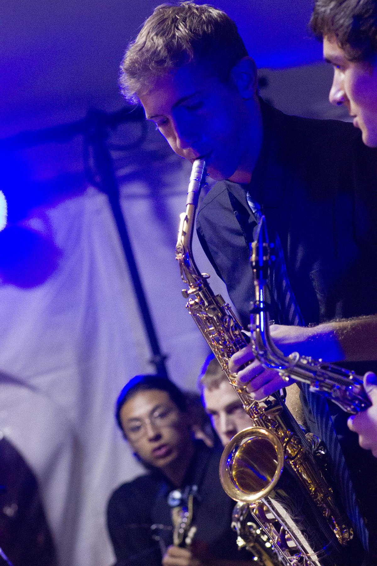 Seth Miller plays saxophone in Lavender Jazz