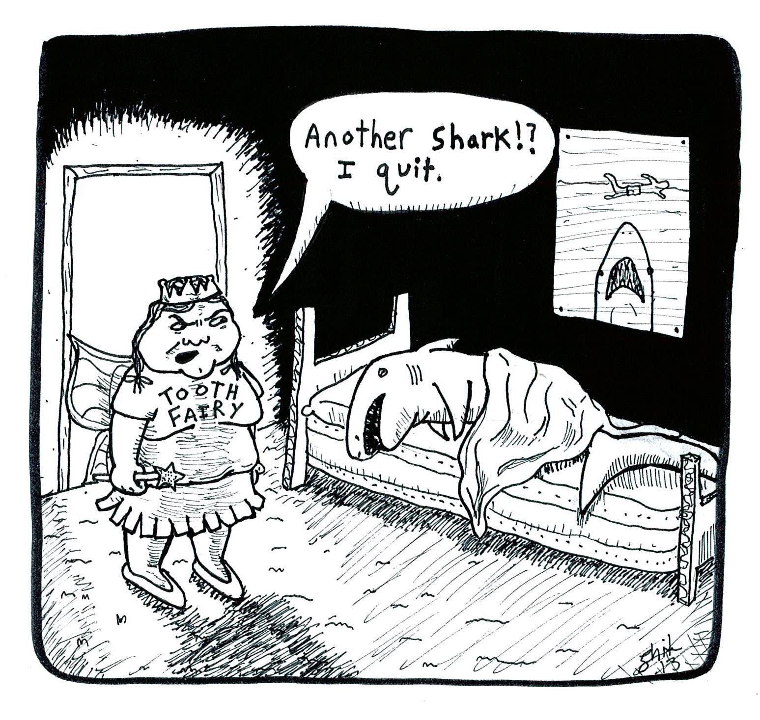 Comic strip illustrating a tooth fairy's frustration at being called to yet another shark's house