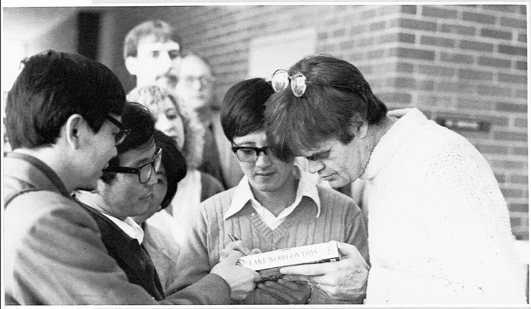 Garrison Keillor with students at Goshen College during a visit in 1985