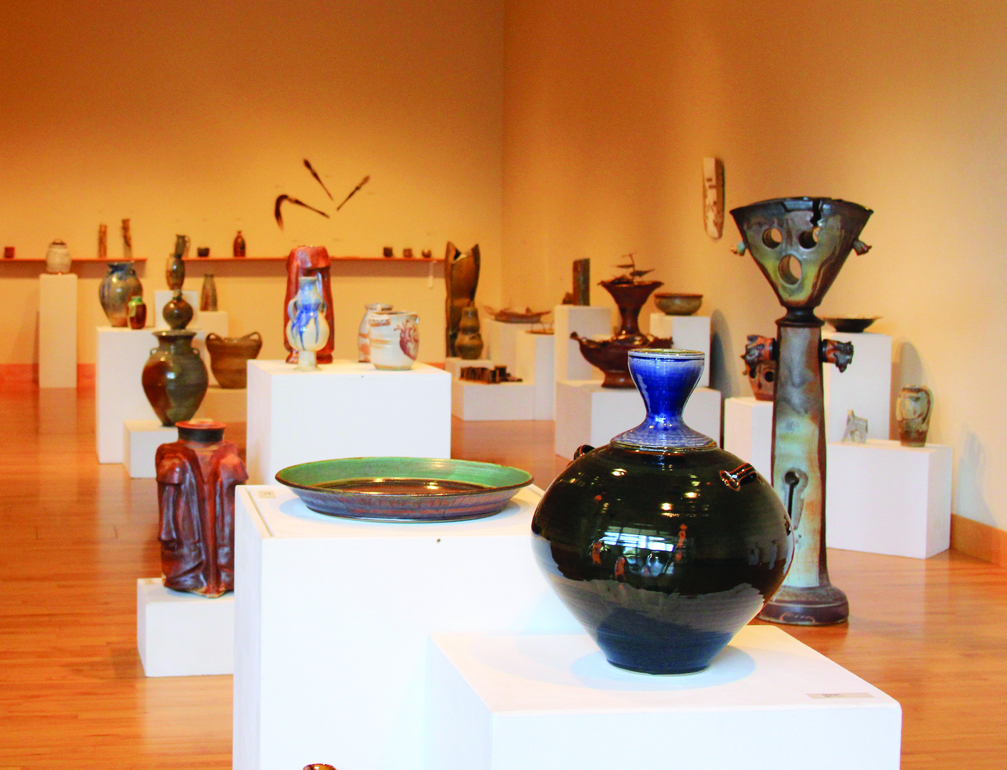 Ceramic pieces from the Michiana Pottery Tour in the Hershberger Art Gallery