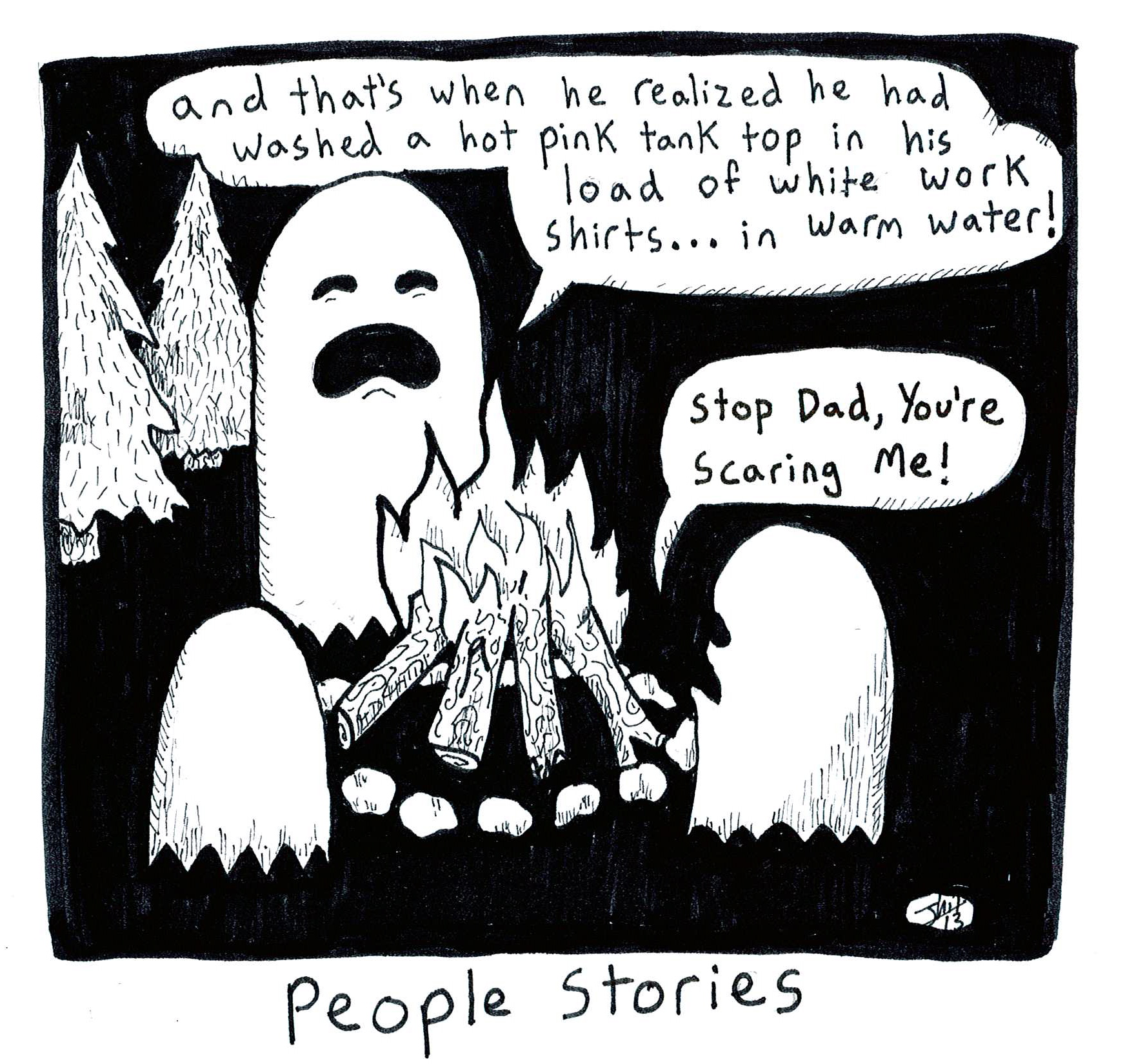 """Comic strip illustrating ghosts telling scary """"people stories"""" about humans who didn't separate their laundry by color"""