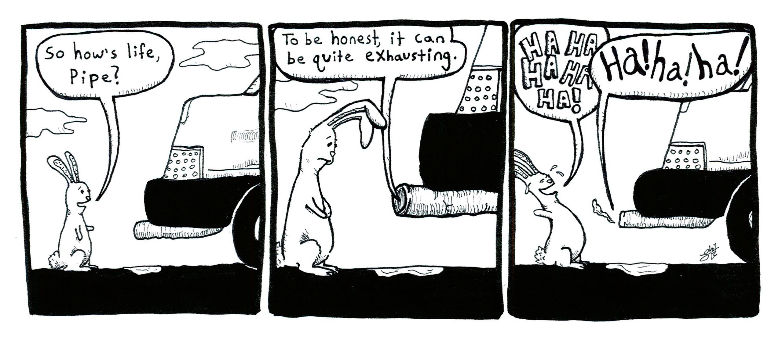 Comic strip illustrating a rabbit's conversation with an exhaust pipe about how exhausting life can be