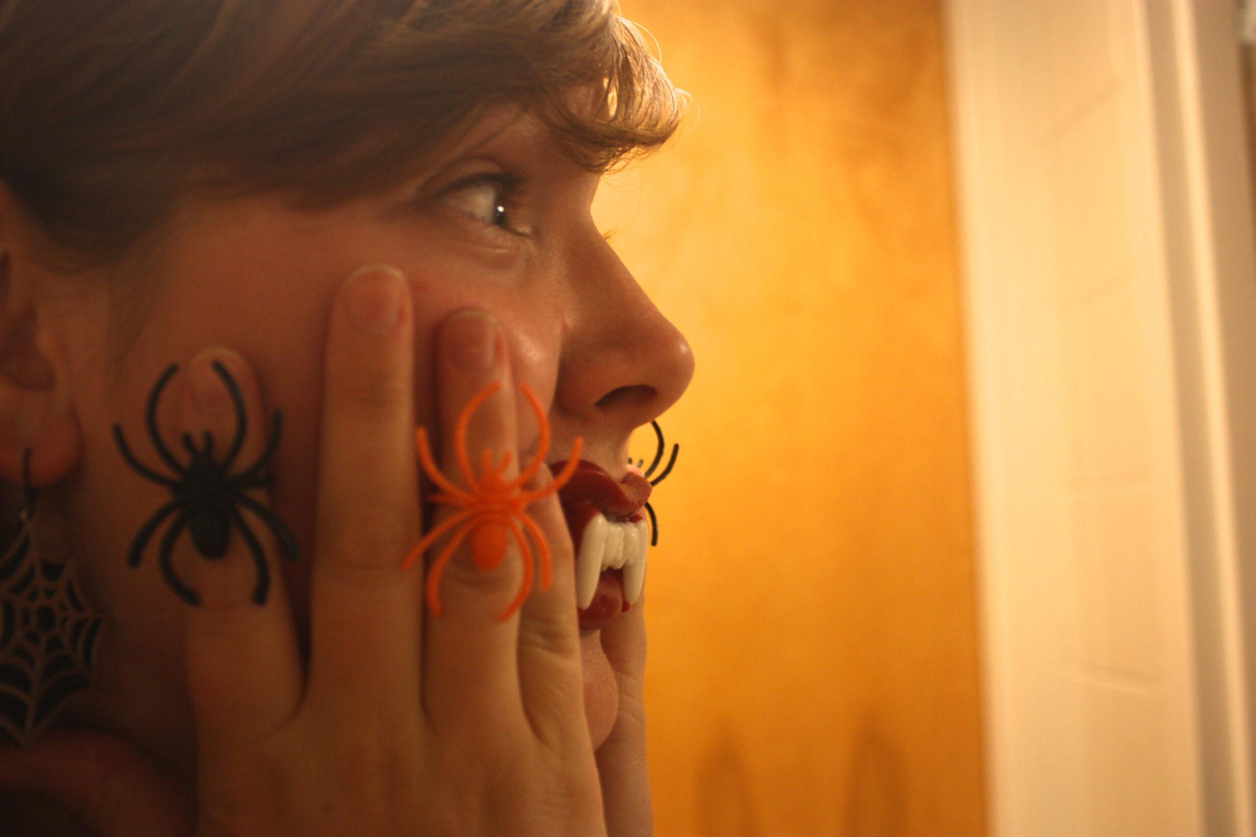 Elizabeth Franks-North wears a variety of spider rings
