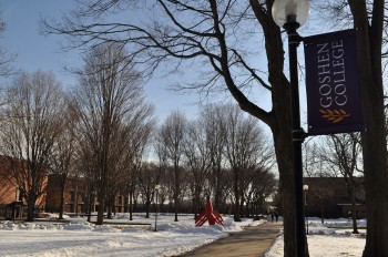 The campus, blanketed in snow, meets the changes of a new year. Photo by Lauren Weaver