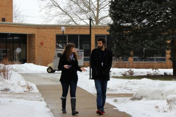 Joanna Epp, a sophomore, walks with a prospective student. Photo by Leah Stebly