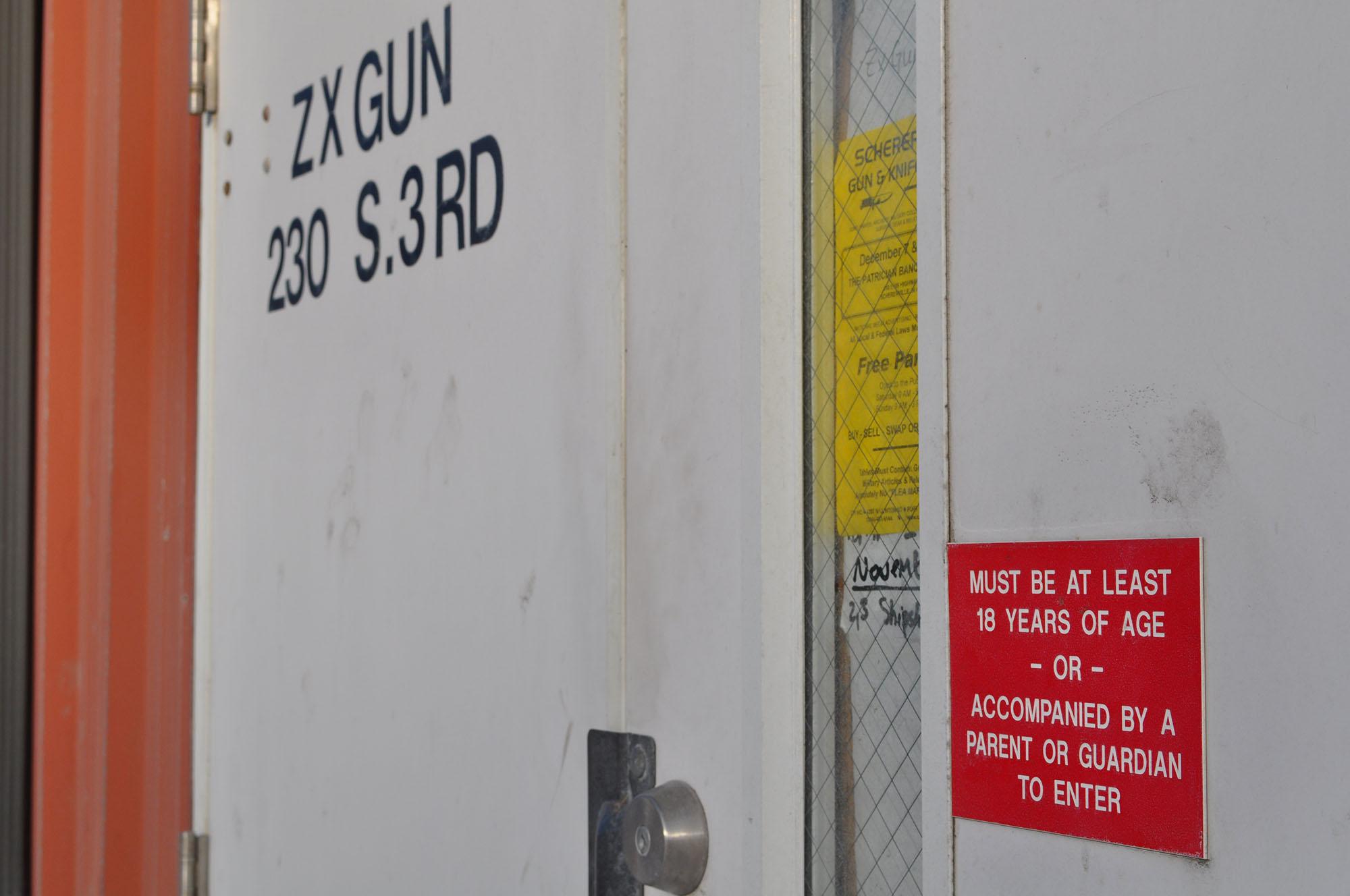 Gun store door