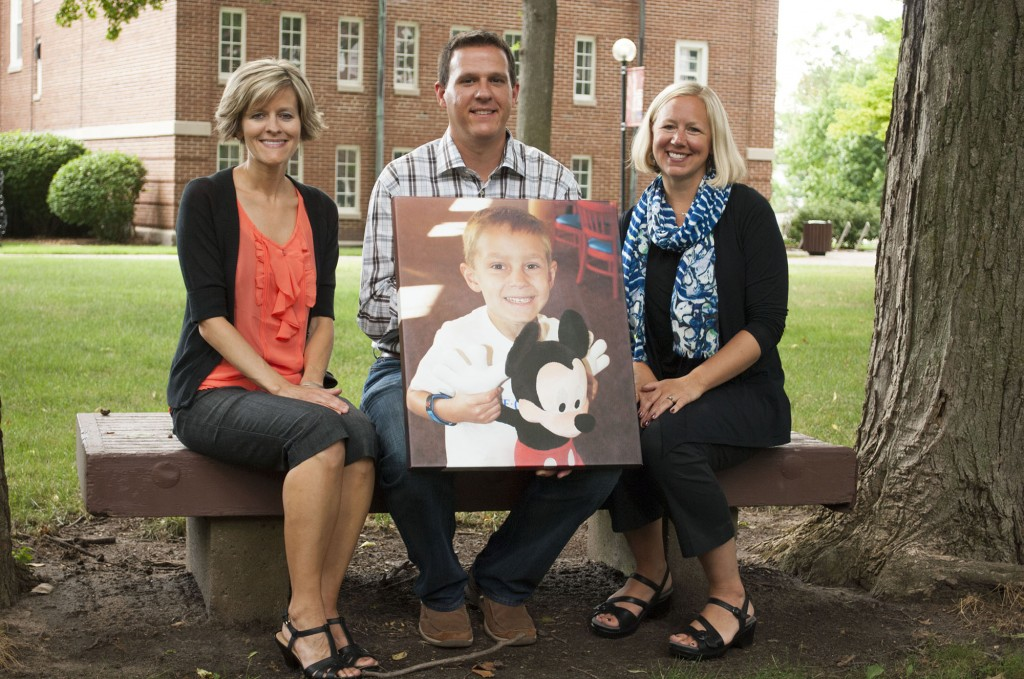 Lesley Rutt Dyck, the first recipient of the Isaac Steiner scholarship, with Isaac's parents, Rob and Sarah. Photo contributed by Comm Mar