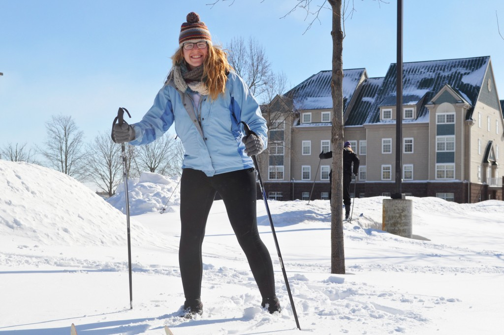 Michelle Moyer uses her snow day for cross-country skiing. Photo by Lauren Weaver