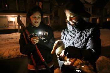 Students wrangle duck