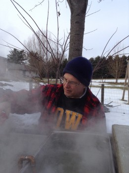 Steve Shantz boils the maple sap he tapped to make maple syrup.