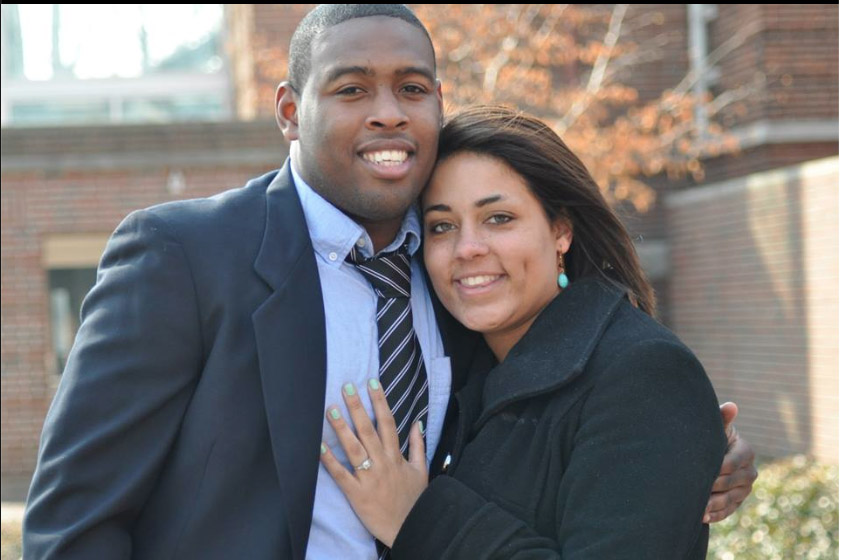 KhavoirDarioGraham and Teagan Johnson smile for a picture. Johnson shows off her new engagement ring with her hand on Graham's chest.