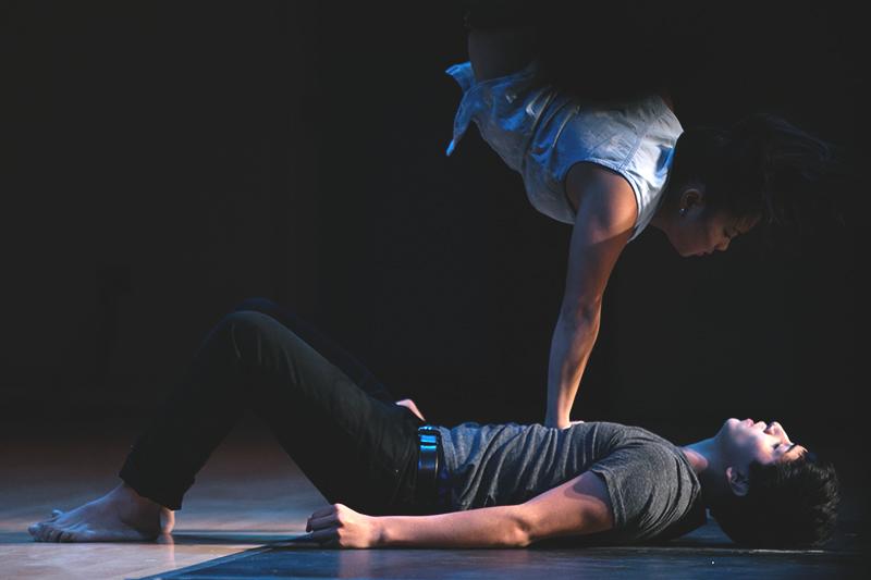 Students performing a dance at Kickoff