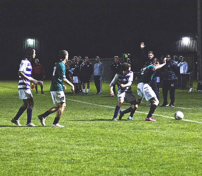 soccer game in action