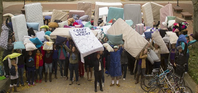 Students Carrying Mattresses For Solidarity