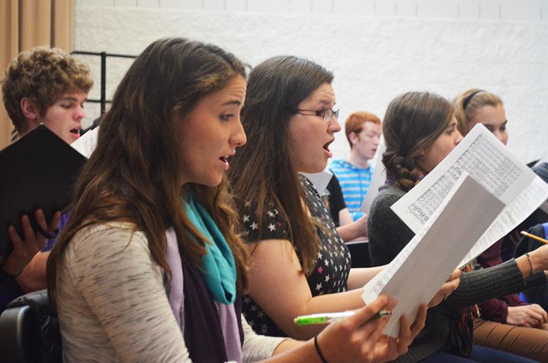 Choir rehearsing songs