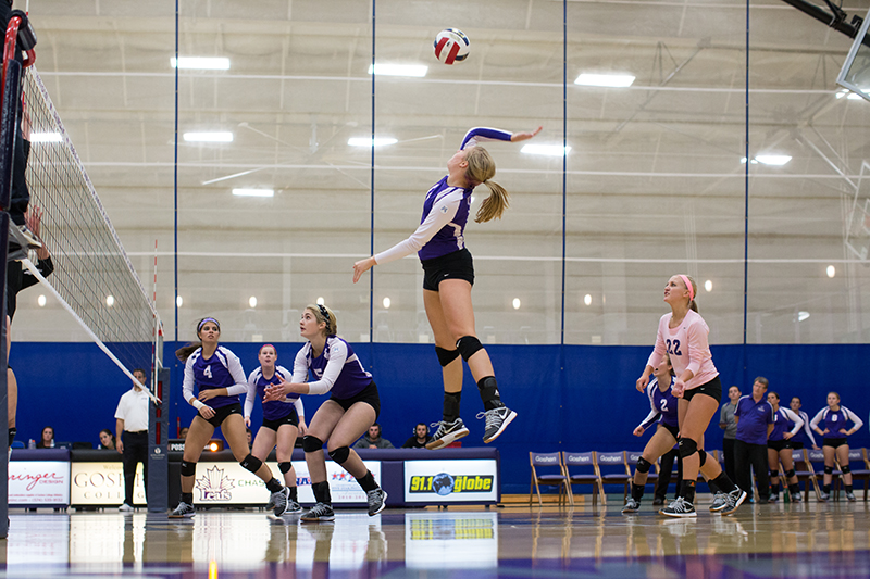 volleyball jumps to make hit