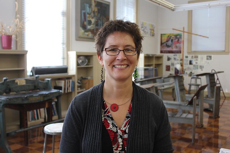 Portrait of Kristi Glick in art studio