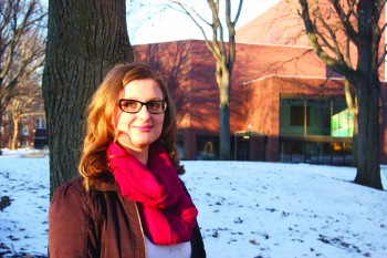 Katerina Polanska, a graduate student from the Czech Republic enjoys a winter day on campus
